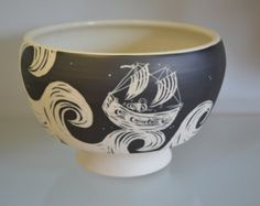 Ceramic Tea Bowl in Ghost Ship Motif by Oxide Pottery in Lynchburg Virginia
