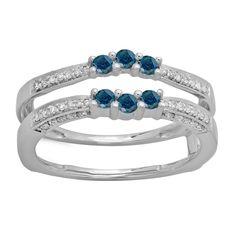 Elora 14k Gold 1/2ct TDW Round-cut Blue and White Diamond Wedding Double Ring (H-I, I2-I3) (Size 4.5, White Gold), Women's, White H-I