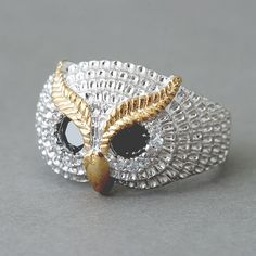 Lucky Owl Ring from Kellinsilver.com – Owl Jewelry, Owl Cocktail Ring