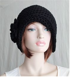Black Hat Cloche 1920's Style Inspired Flapper by endlesscreation