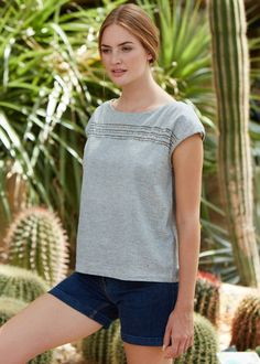 People Tree | Trixie Embroidered Top in Grey