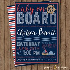 Nautical Baby Shower Invite - Baby Boy/Girl Baby Shower - Gender Neutral - Baby On Board on Etsy, $12.00