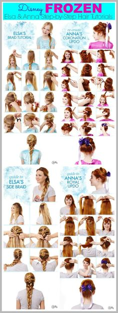 Disney Frozen Hair Tutorials – Elsa and Anna Hacks. Step by Step Tutorials for Side Braids, Coronation Buns, and Royal Updos on Frugal Coupon Living.