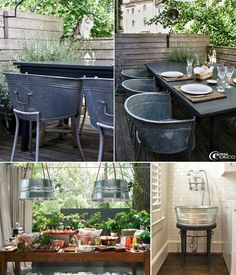 5 Ideas to Decorate with Galvanized Buckets. Would love the sink in a laundry room of outdoor garden!
