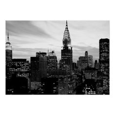 Black White New York City Night