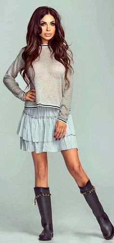 #winter #outfits  gray mesh sweater