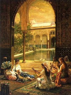 Simple entertainments of life: Female musicians playing for the lady.  Alhambra Courtyard, Al-Andalus (Muslims in Spain).  Medieval Islamic Era, the Golden Age.  Al-Andalus by  Noëlle Hugo Pacheco.