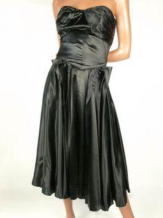 "On Ruby Lane - Extraordinary 1950s Black Silk Satin Dress *33/34""B24/25""W, $650"