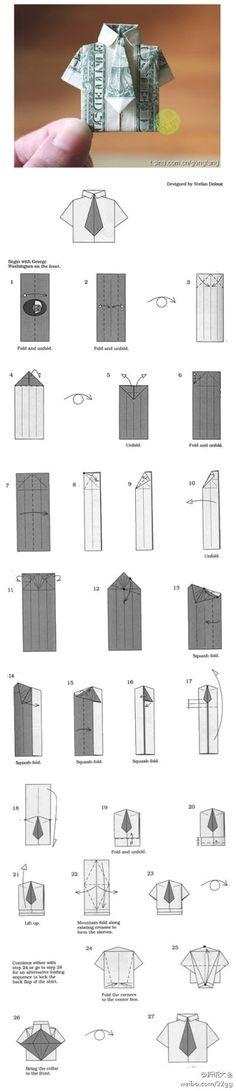 Doodlecraft: Origami Money folding: Shirt and Tie! Dollar Bill Origami, Money Origami, Dollar Bills, Dollar Money, Folding Money, Paper Folding, Origami Folding, Origami Boxes, Diy Paper