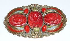 glass stone, brooch, red glass