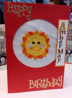 Cross stitch hand made childs card