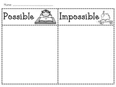 Possible/impossible sort - intro to probability Math Classroom, Kindergarten Math, Teaching Math, Teaching Ideas, Primary Teaching, Classroom Ideas, Math Activities For Kids, Fun Math, Math Resources