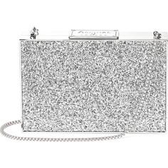 ASPINAL OF LONDON Box glitter clutch bag ($610) ❤ liked on Polyvore featuring bags, handbags, clutches, white handbags, clasp handbag, white box clutch, chain strap handbags and embossed handbags
