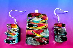 Water Ripples Dichroic Glass #Pendant & Earrings Set #Handmade #Boho Gift Genuine £3.95