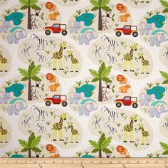Lewis and Irene Safari Park Scenic Beige from @fabricdotcom  Designed by Lewis and Irene, this cotton print fabric is perfect for quilting, apparel and home decor accents. Colors include black, white, red, yellow, pink, cream, shades of brown, shades of green, shades of blue, shades of orange, and shades of grey.