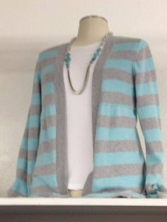 aqua, white & gray with turquoise necklace. great sweater. fall 2013