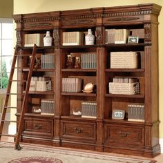 Lower level den bookcases Parker House Grand Manor Granada 3 Piece Museum Bookcase in Antique Vintage Walnut