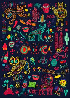 Vibrant design and illustrations that Bosque created for the Oaxaca moleskine for Monoblock.