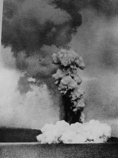 Krakatoa Volcano Erupting - Indonesia 1883 / The volcano exploded in 1883 (VEI 6), killing 36,417 people. The explosion is considered to be the loudest sound ever heard in modern history, with reports of it being heard nearly 4,800 km from its point of origin. The shock wave from the explosion was recorded on barographs around the globe.