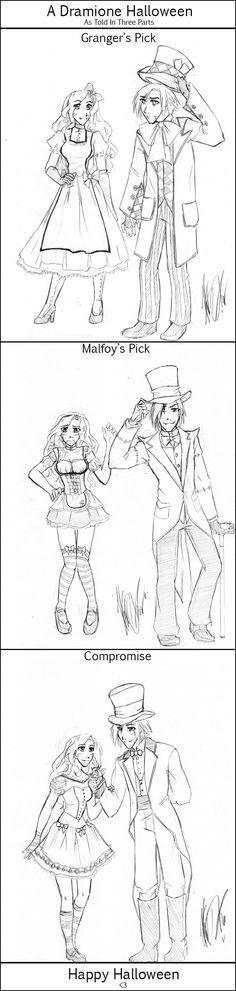 Dramione as alice and mad hatter
