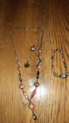 red and black cloisonné necklace,earrings and bracelet, $35