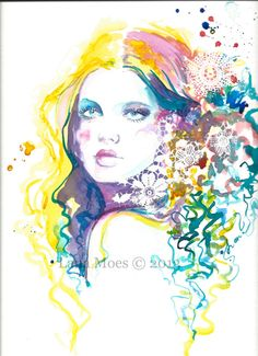 Fashion Original Watercolor Illustration -  Bohemian Watercolor Portrait - Contemporary Home Decor - Original Art by Lana