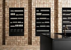 Bricks arranged in pinwheel patterns line the walls of skincare brand Aesop's first store in the American Midwest.