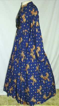 Victorian Civil War Era ca. 1850's Wool Challis Arfternoon Dress SM