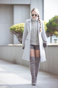 Olga choi fashion blogger myblondegal South Korea smart casual elegant Choies over-knee grey boots Oasap neoprene coat Kate-Kate wristlet ZeroUV aviator sunglasses-08094 | Flickr - Photo Sharing!