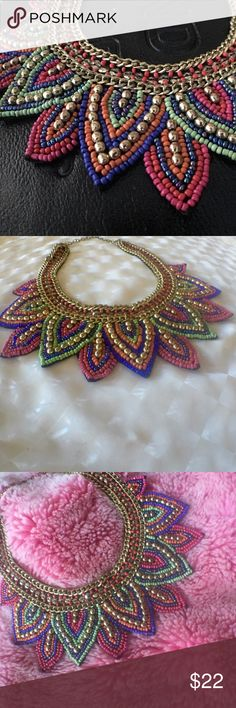 """Bib Necklace A dash of color plus texture to polish up any lackluster look!  This beaded trinket with intricately woven beads takes any neck from negligible to noteworthy. 17.5"""" chain 2"""" Bib drop. Acrylic, brass, synthetic, velvet. Darling, I tell you it's just darling.  HP Jewelry Necklaces"""