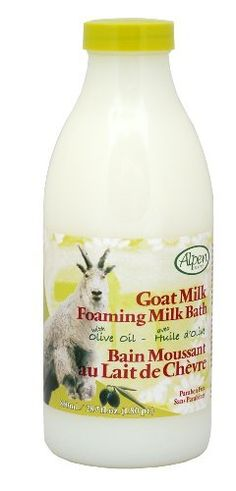 Alpen Secrets Goat Milk Foaming Milk Bath with Olive Oil, 28-Fluid Ounce (Pack of 2) by Alpen Secrets. $14.70. Long lasting moisturizing bubbles with the goodness of goat milk, olive oil ,vitamin e and aloe vera moisturizing ingredients. Delicately fragranced. Paraben free formula. Long lasting moisturizing bubbles with the goodness of goat milk, olive oil ,vitamin e and aloe vera moisturizing ingredients.