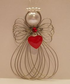 Valentine's Day Heart Angel Ornament Handmade