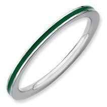 Fabulous Silver Stackable Green Enamel Ring Band. Sizes 5-10 Available Jewelry Pot,http://www.amazon.com/dp/B008BMRKEI/ref=cm_sw_r_pi_dp_rIPprb0T18ZT11BM
