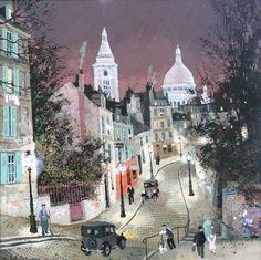 """huariqueje: """" Montmartre - Michel Delacroix French b, """". Art and illustration Georges Seurat, Anime Comics, Michel Delacroix, Delacroix Paintings, Art Parisien, Maurice Utrillo, Paris Painting, Paris Art, Building Art"""