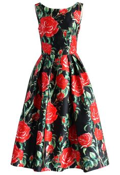 Stories of romantic evenings you spent in this statement making prom dress will circulate for years to come! Fancy up in this dreamy rosy dress that features a crisp red rose print, low neckline on the back and a classic fit and flair silhouette, you'll be as fresh and beautiful as an actual bouquet of roses as you step onto the scene!