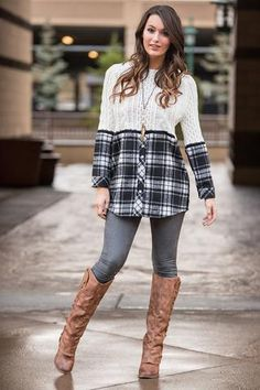 Knit Pick Plaid Button Up Contrast Cable Knit Pull Over (Ivory) - NanaMacs.com - 1