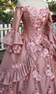 In-Stock Dusty Rose Floral Sparkle Carnivale by RomanticThreads