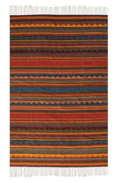 Shop unique, award-winning Artisan treasures by NOVICA, the Impact Marketplace. Each original piece goes through a certification process to guarantee best value and premium quality. Southwestern Quilts, Southwestern Style, Guatemalan Textiles, Small Apartment Design, Striped Rug, Deep Red Color, Throw Rugs, Kilim Rugs, Wool Rug