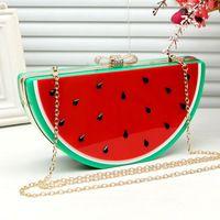 Marca de moda melancia acrílico saco de embreagem de Metal senhoras de frutas tiracolo Hard Case quadro embreagens Purse mulheres ABS bolsas