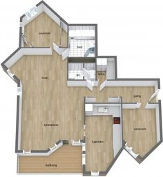 *What do YOU think of the angles of the rooms of this 3D floor plan?*  Designed in RoomSketcher Business Edition by EiendomsMegler1: http://www.roomsketcher.com/features/overview/  3D floor plan for a multiple room house with interesting angles to most rooms.  Hardwood flooring, ceramic tile floors, wrap around counter tops in the kitchen, and wood deck.  Brand named furniture & decor items available to finish a realistic look with RoomSketcher Floor Planner.