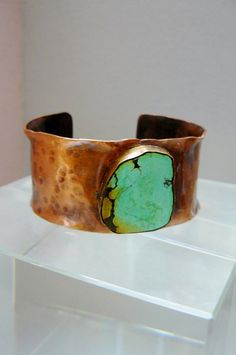 Oxidized Hammered Copper Cuff with Turquoise Gemstone
