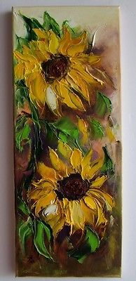 Sunflowers Impression Palette knife Original Oil Painting IMPASTO Europe Artist | Art, Direct from the Artist, Paintings | eBay!
