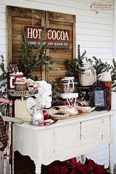 Hot cocoa bar. Hygge winter wedding ideas #winterwedding