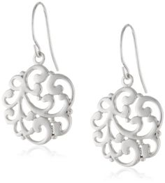 Sterling Silver Floral Medallion Drop Earrings Amazon Curated Collection,