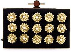Jason Wu Black & Gold Daphne Box Clutch