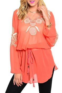 DHStyles Women's Coral Cream Demure Sheer Floral Crochet Patterned Long Sleeve Top - Large #sexytops #clubclothes #sexydresses #fashionablesexydress #sexyshirts #sexyclothes #cocktaildresses #clubwear #cheapsexydresses #clubdresses #cheaptops #partytops #partydress #haltertops #cocktaildresses #partydresses #minidress #nightclubclothes #hotfashion #juniorsclothing #cocktaildress #glamclothing #sexytop #womensclothes #clubbingclothes #juniorsclothes #juniorclothes #trendyclothing…