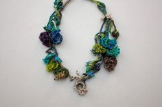 Fiber statement necklace hand wrapped jewelry with by rRradionica