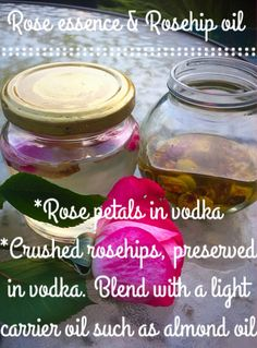 Rose petal essence (Calming, uplifting fragrance for use in home products, excellent diluted with water for a linen spray): *Fresh rose petals preserved in vodka.   Rose hip oil (Rejuvenating skin tonic):  *Fresh rose hips washed and crushed using a pestle and mortar and preserved in vodka *Blend with a light carrier oil - I prefer almond oil.  #Homemade #Homegrown #Natural #Skincare #Household #Products #Roses
