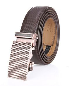 NO MORE HOLES – Marino's Fashion Ratchet Belt provides 38 unique adjustments for an extremely comfortable fit. Easy removable buckle allows you to cut the belt to your ideal size to give a primmer and custom-tailored appearance! EASY USE – Just slide the belt into the buckle and pull the belt through, the buckle simply auto locks the belt, to release the belt, gently push the lever on the side of the buckle and lock will snap. Simple, smooth and sleek! MAXIM