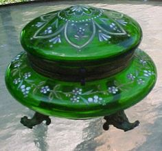 Vintage MOSER Bohemian Glass Emerald Green Footed Covered Trinket Dresser Box | eBay